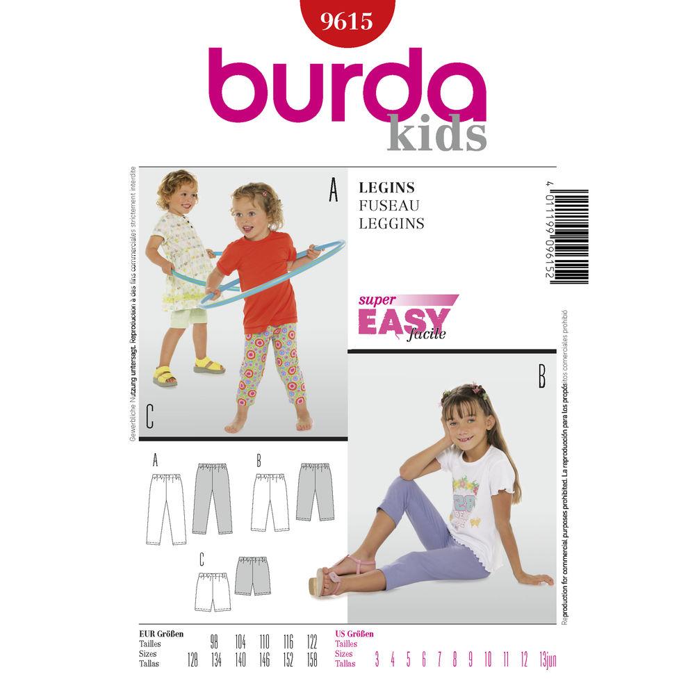 แพทเทิร์นตัดเลกกิ้ง ขาสั้น ขาสามส่วน ขายาว ยี่ห้อ Burda Kids (9615) ไซส์ 3-13 ขวบ (สูง 98-158 cm.)