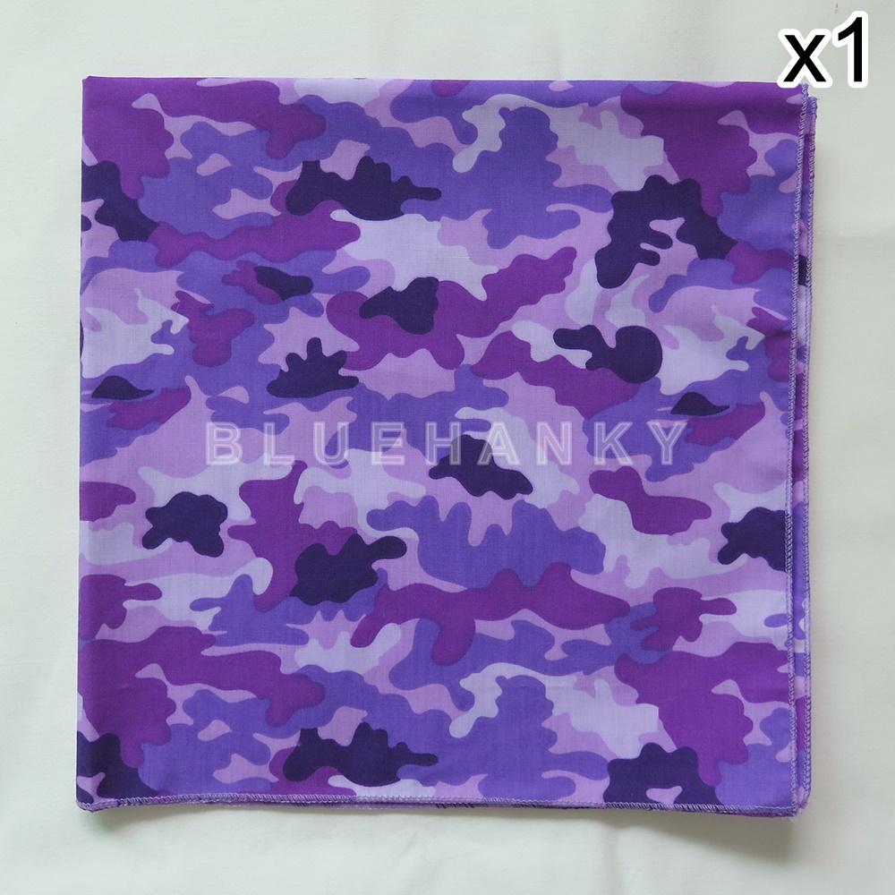 ผ้าพันคอ ผ้าโพกหัว ลายทหาร สีม่วง ผืนใหญ่