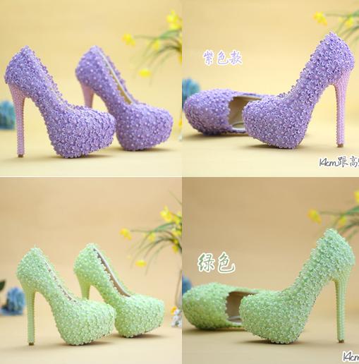 รองเท้าเจ้าสาว ไซต์ 34-41 สีม่วง สีเขียว ส้นสูง 8,11,14 ซม.