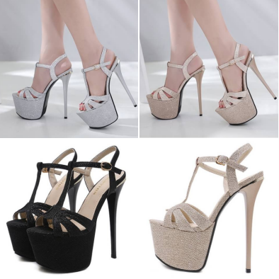 รองเท้าส้นสูงสีดำ/ทอง/เงิน ไซต์ 34-40