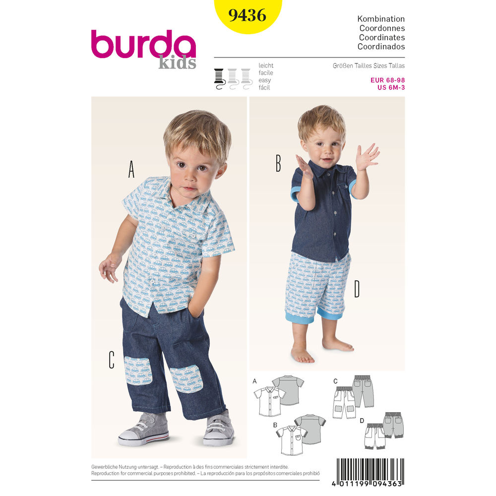 แพทเทิร์นตัดเสื้อเชิ้ต กางเกงขายาว ขา 4 ส่วน ยี่ห้อ Burda Kids (9436) ไซส์ 3M-6M-9M-12M-18M-2T-3T (สูง 62-98 cm.)