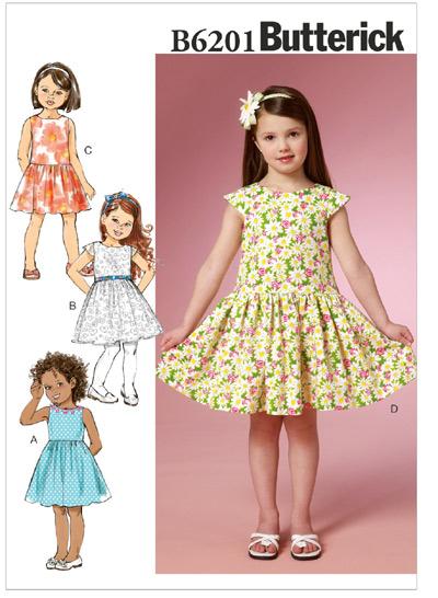 แพทเทิร์นตัดชุดเดรสเด็กหญิง Butterick 6201 Size: 2-3-4-5