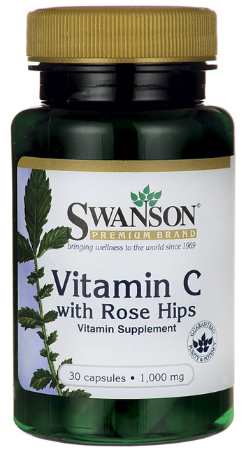 Swanson Premium Vitamin C with Rose Hip 1000 mg. 30 capsules วิตามินซีที่เน้นบำรุงผิวใสด้วยค่ะ
