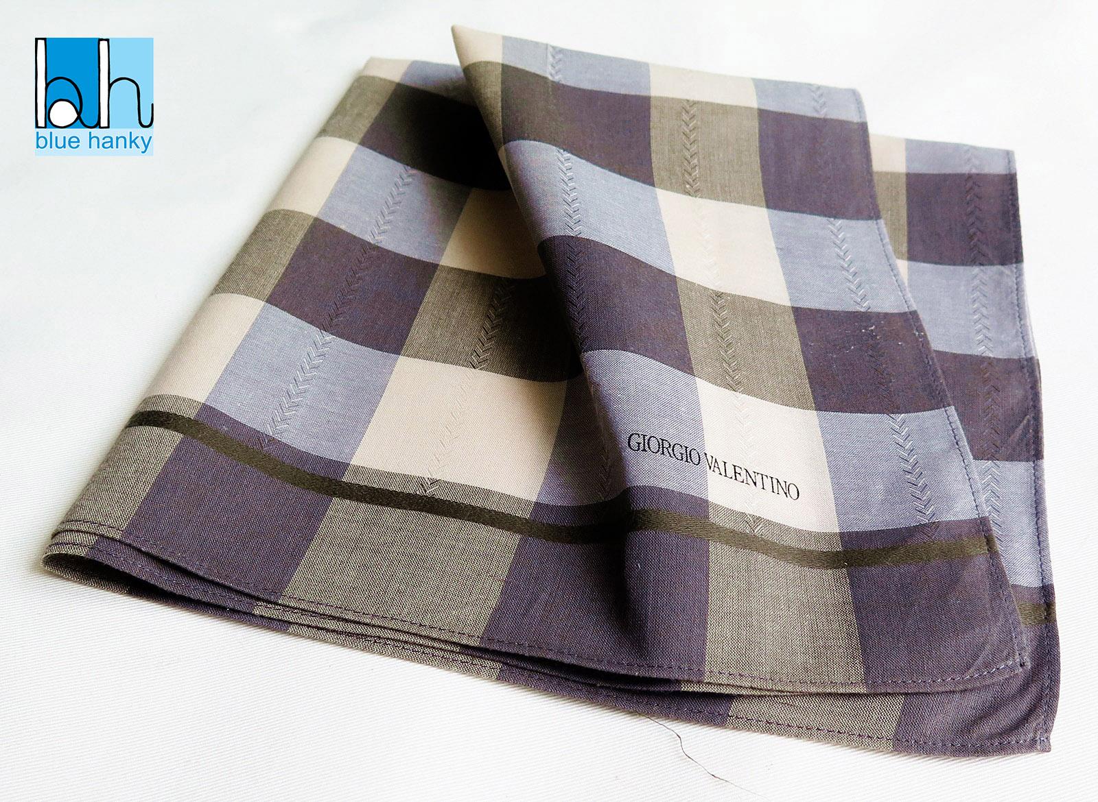 "#62 18"" GIORGIO VALENTINO ผ้าเช็ดหน้ามือ2 สภาพดี ผ้าเช็ดหน้าผืนใหญ่"
