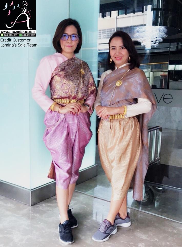 รีวิวชุดไทยเสื้อแขนกระบอก ห่มสไบลายโทนสี earthtone สวยๆ ที่ทางร้าน allsweetdress จัดชุดให้ทีมเซลล์ lamina ไปใช้ที่ประเทศไต้หวันค่ะ