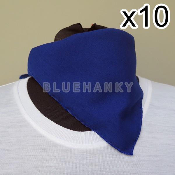 10ผืน สีน้ำเงิน สี่เหลี่ยม53ซม ผ้าพันคอกีฬาสี ผ้าเช็ดหน้าผืนใหญ่