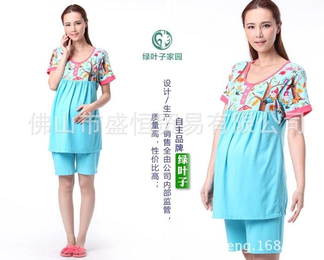 c1313 เสื้อให้นมแขนสั้น + กางเกงขาสั้นสีฟ้า แต่งลายด้านบนเสื้อ
