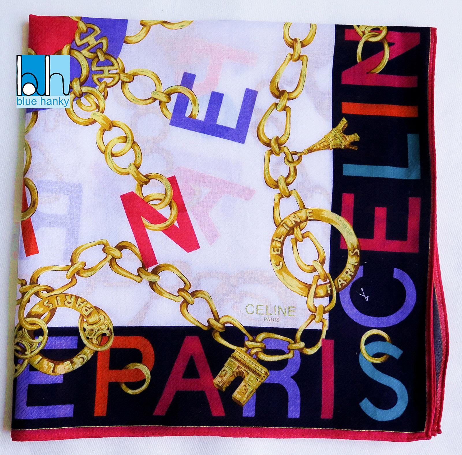"""#295 22"""" CELINE PARIS ผ้าเช็ดหน้ามือ2 สภาพดี ผ้าเช็ดหน้าผืนใหญ่"""
