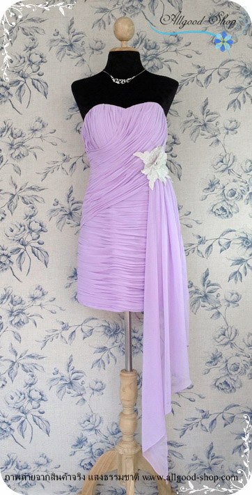 เช่าชุดราตรีสีม่วงลาเวนเดอร์ เดรสสั้นเกาะอกทรงหัวใจ ด้านหน้าจับเดรฟ เอวตกแต่งด้วยดอกไม้สีเงินเมทัลลิค 34-27-34