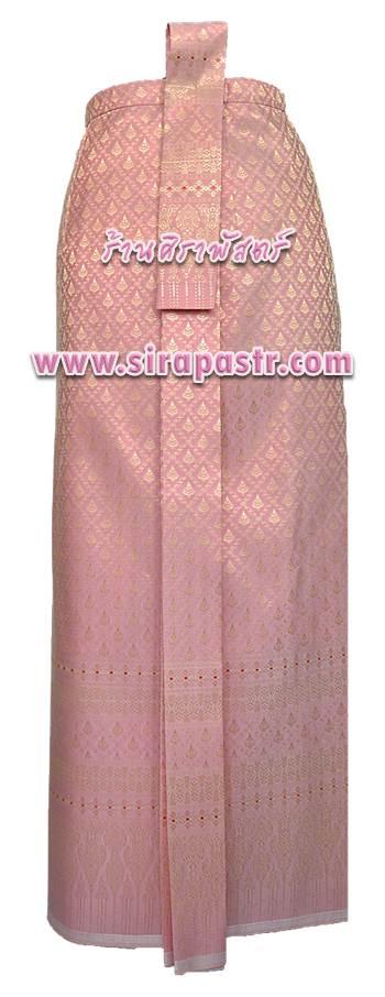 """ผ้าถุงป้าย-หน้านาง B7-4 สีชมพูโอรส (เอวใส่ได้ถึง 31""""/34"""") *แบบสำเร็จรูป-รายละเอียดตามหน้าสินค้า"""