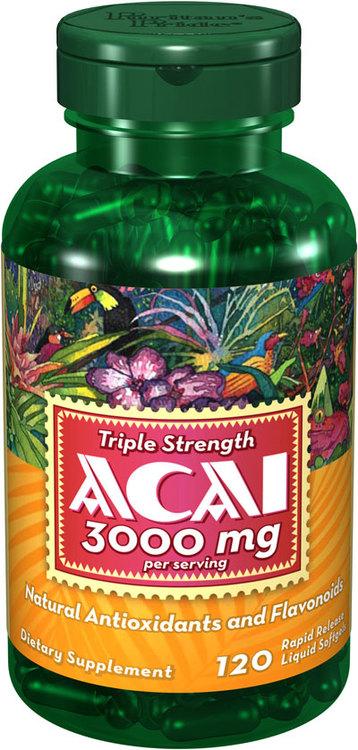Puritan's Pride Triple Strength Acai 3000 mg 120 Softgels อาซาอิ ต้านอนุมูลอิสระดีเยียม ช่วยริ้วรอยและคงความอ่อนเยาว์