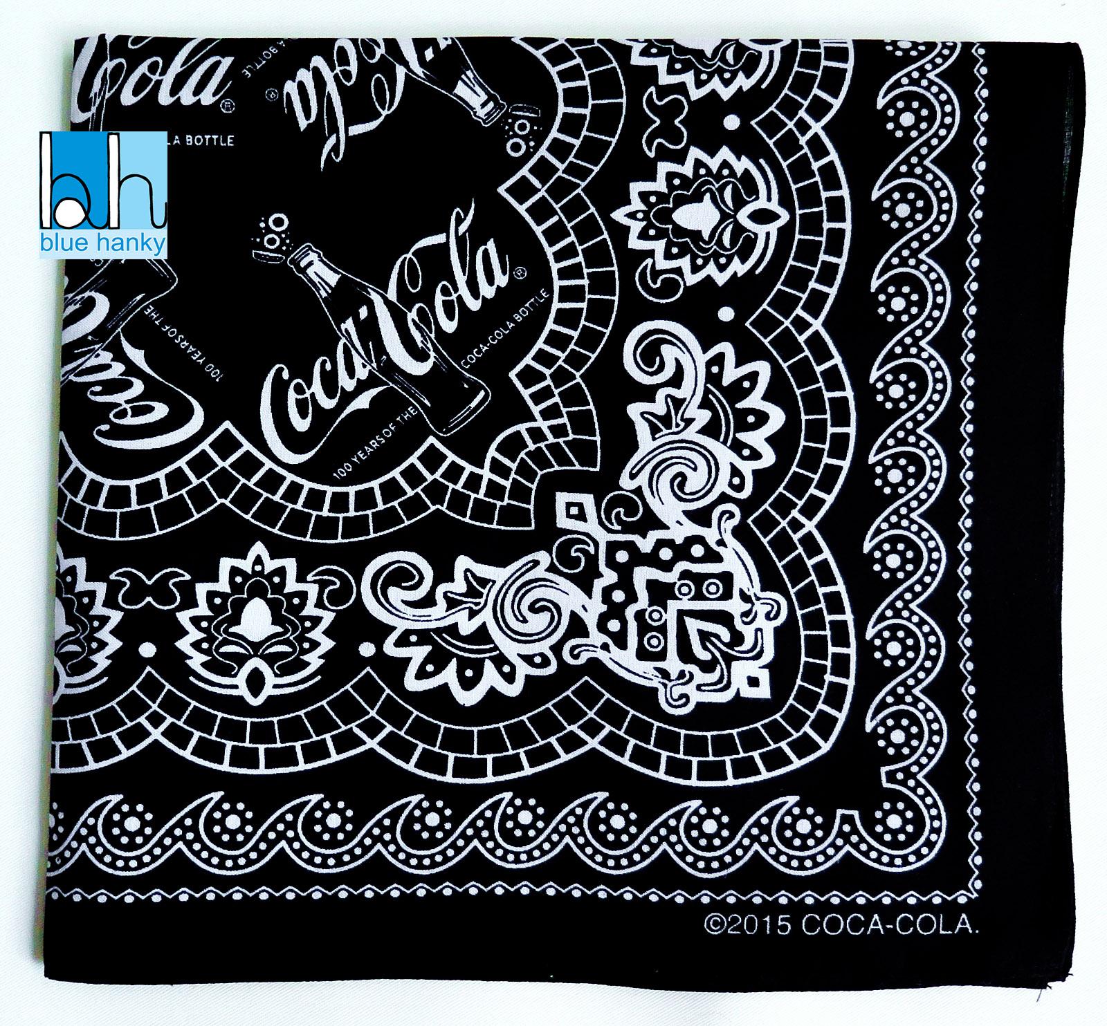 "#267 21"" 100 YEARS OF COCA COLA Paisley คาวบอย ผ้าเช็ดหน้ามือ2 สภาพดี ผ้าเช็ดหน้าผืนใหญ่"