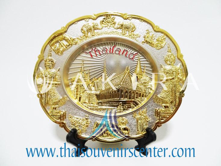 ของพรีเมี่ยม ของที่ระลึกไทย จานโชว์ แบบที่ 5 Size M สีเงินลายทอง