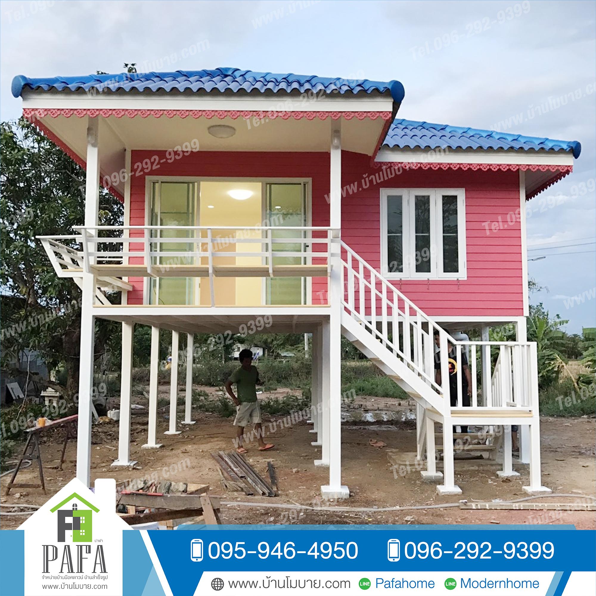 บ้านขนาด 8*6 เมตร ระเบียง 2*3 เมตร (1ห้องนอน 1ห้องน้ำ 2 ห้องโถง) ยกสูง 2 เมตร
