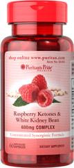 Raspberry Ketones and White Kidney Bean ราสเบอรี่คีโตนผสมถั่วขาว ลดไขมันและแป้ง 600mg 60 เม็ดจาก Puritan's Pride