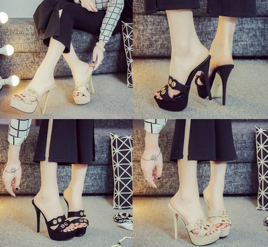 รองเท้าส้นสูงแบบสวมสีดำ/น้ำตาล ไซต์ 34-39