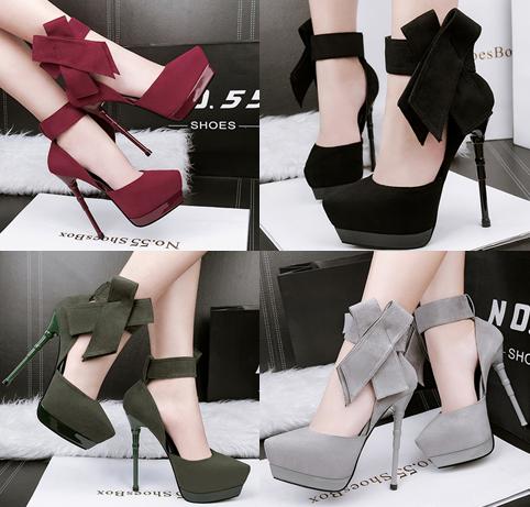 รองเท้าส้นสูง ไซต์ 34-39 สีดำ/แดง/เขียว/เทา