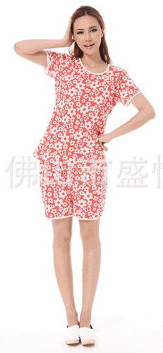 c1627เสื้อให้นมแขนสั้น + กางเกงขาสั้น ปรับเอวได้จ้า ลายดอกไม้สีส้ม
