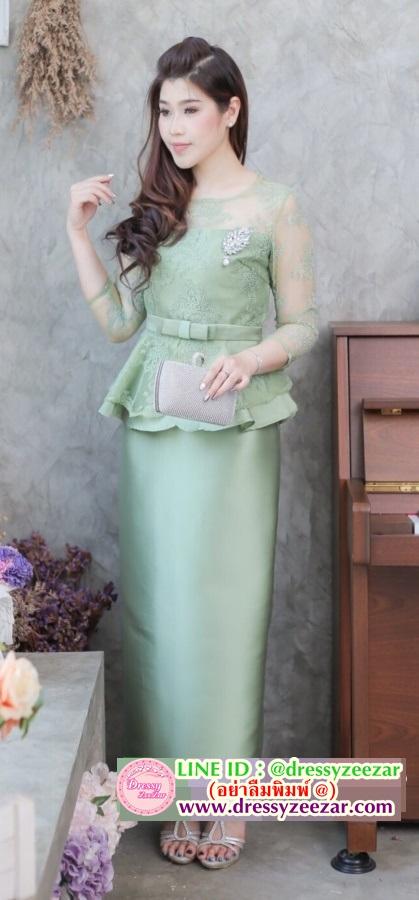 (Size XL) ชุดแม่เจ้าสาว ชุดแม่เจ้าบ่าว ชุดไปงานบุญงานบวชสีเขียว Set เสื้อลูกไม้เอวระบายแขนสามส่วน เนื้อผ้าลูกไม้อย่างดีสั่งทำพิเศษมาพร้อมกระโปรงผ้าไหมสีพื้นทรงสอบผ่าหลังผ้าสวยมากๆคะ