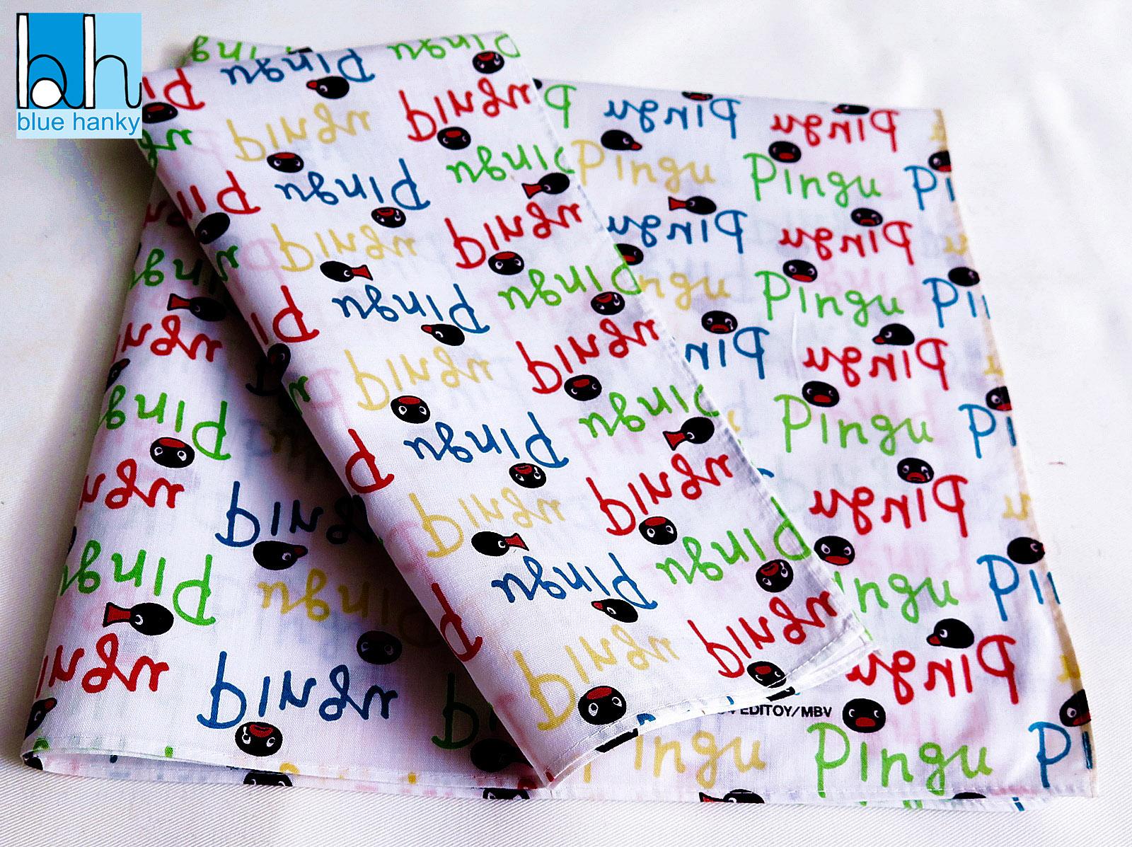 """#150 19"""" Pingu ผ้าเช็ดหน้ามือ2 สภาพดี ผ้าเช็ดหน้าผืนใหญ่"""