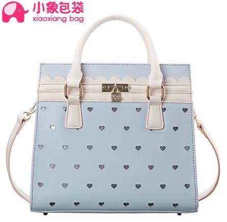 กระเป๋า SHARE YOUNG สีฟ้าลายหัวใจ มีสายยาว (พรีออเดอร์)
