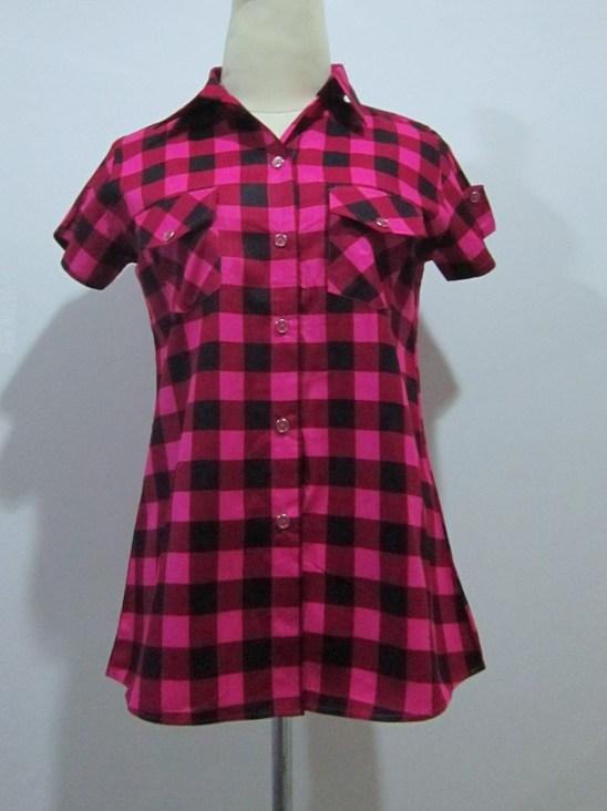 (สีแดง) เสื้อเชิ้ตเกาหลีแฟชั่นทำงานสีแดงคอปก ลายสก๊อต แขนสั้น กระดุมหน้า กระเป่าจริงเข้ารูป (ใหม่ พร้อมส่ง) ร้าน LadyShop4U