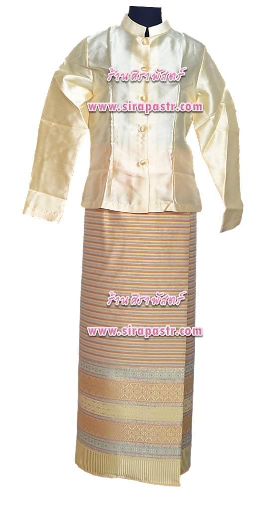 ชุดไทย-เสื้อฯ+ผ้าถุงป้ายฯ ผ้าไหม (เอวใส่ได้ถึง 34 นิ้ว) *รายละเอียดในหน้าสินค้า