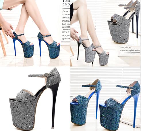 รองเท้าส้นสูง 7.6 นิ้ว สีน้ำเงิน/เทา ไซต์ 34-43
