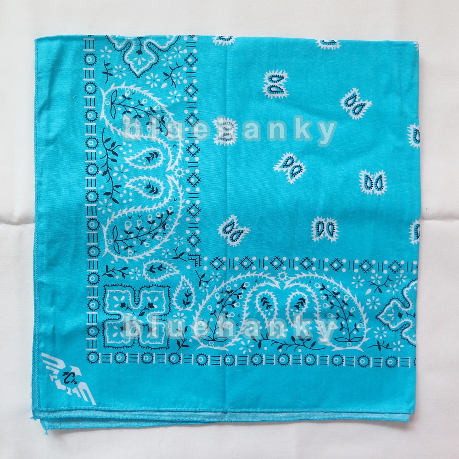 ผ้าพันคอBandannasไซส์บิ๊ก 28นิ้ว สีฟ้าสว่าง