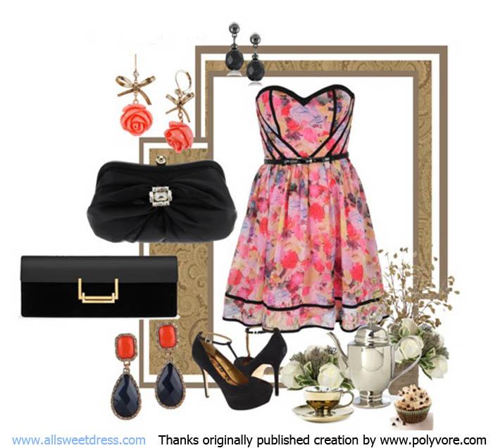 ภาพตัวอย่างในการเลือกชุดราตรี กระเป๋า เครื่องประดับให้เข้ากัน