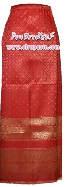 """ผ้าถุงป้ายข้าง สีแดง (เอวใส่ได้ถึง 28""""/32"""") * ตรวจสอบรายละเอียดสินค้าในหน้าฯ"""