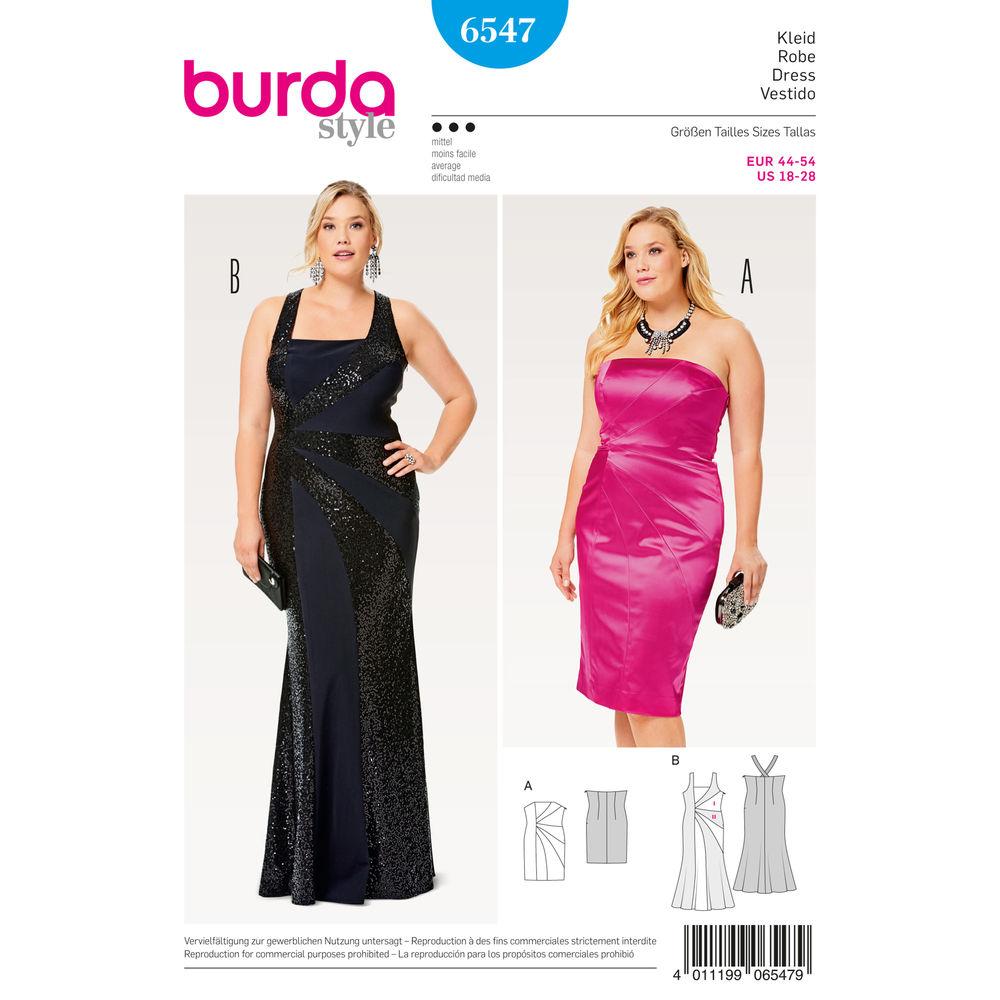 แพทเทิร์นตัดเดรสสตรี พลัสไซส์ ไซส์ 18-28 ยี่ห้อ Burda Style (6547) อก 39.5 - 50.5 นิ้ว