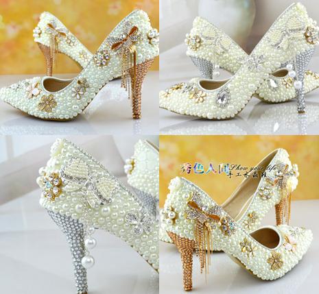 รองเท้าเจ้าสาวสีเงิน/ทอง ไซต์ 35-39