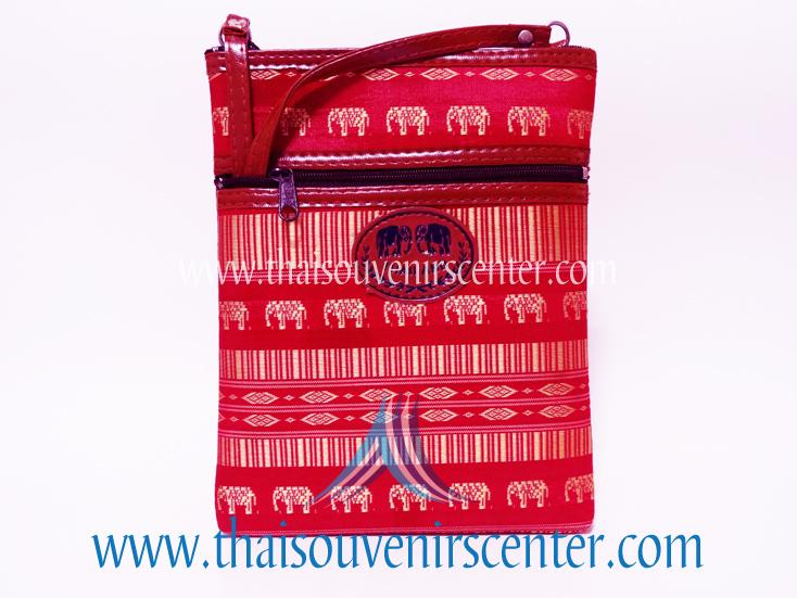 ของฝากจากไทย กระเป๋าสะพายลายช้างสายหนัง แบบ 30 สีชมพูเข้ม