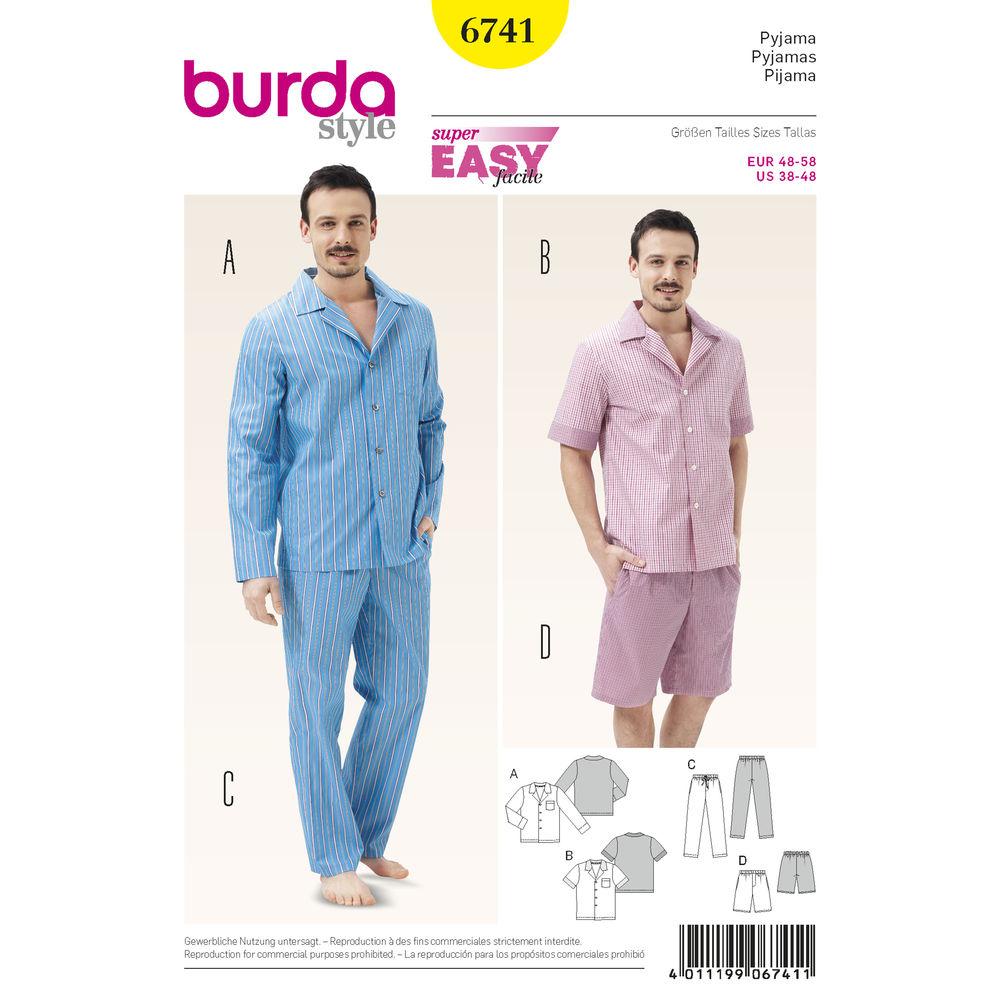 แพทเทิร์นตัดชุดนอนชาย เสื้อกระดุมหน้า แขนสั้น แขนยาว กางเกงขาสั้น ขายาว Burda (6741) ไซส์ 48-58