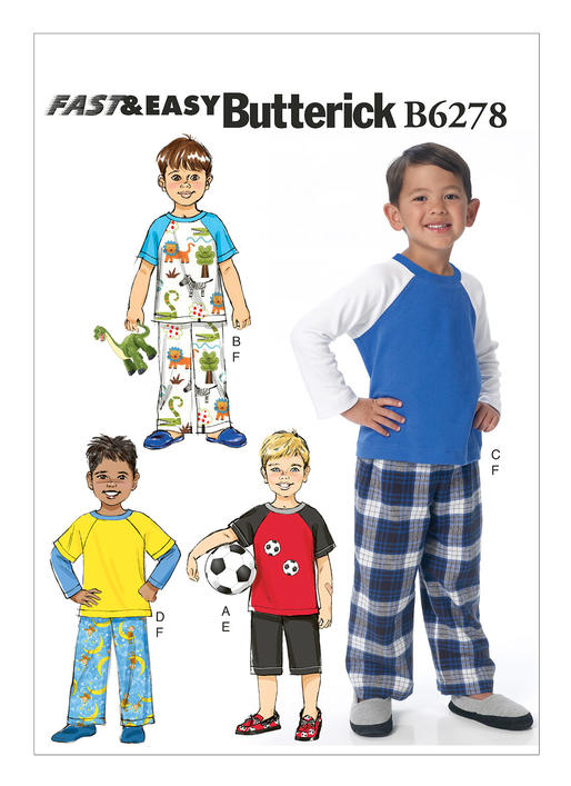 แพทเทิร์นตัดเสื้อยืด แขนสั้น แขนยาว ต่อแขน กางเกงขาสั้น ขายาว เด็กชาย Butterick B6278 size: 2-3-4-5 ขวบ