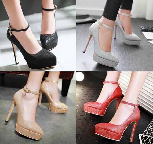 รองเท้าส้นสูงปลายแหลมเก็บทรงสีทอง/เงิน/ดำ/แดง ไซต์ 34-43
