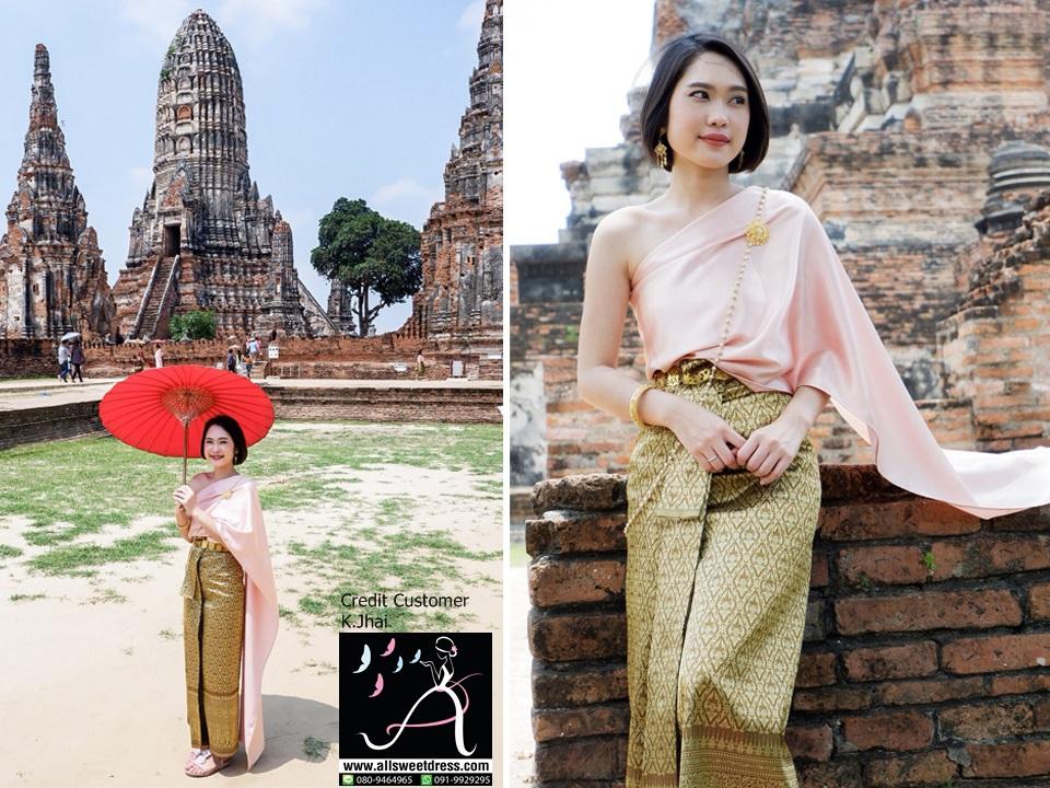 รีวิวชุดไทยสไบชมพูถ้าถุงครีมทองอ่อนสวยงามในบรรยากาศวัดไทยจากน้องจ๋าย ได้ภาพสวยงามในแบบฉบับวัฒนธรรมไทยโดยเฉพาะมาด้วย สวยจริงๆ นะคะ