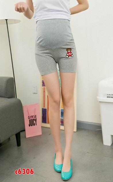 c6306 กางเกงคนท้อง มีซัพพลอตท้อง ขาสั้น ลายน้องหมีสีเทา