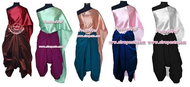 ชุดผ้าไทย R4-1 (สไบผ้าเรียบ+ผ้าพื้น *แบบจับสด) รายละเอียดในหน้าสินค้า