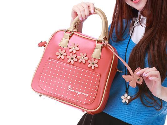 กระเป๋าแฟชั่น Share Young สีชมพูหวานมาก ๆ มีสายยาวถอดสายได้(พรีออเดอร์)