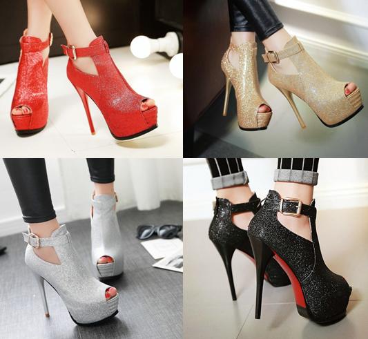 รองเท้าส้นสูงสีทอง/เงิน/แดง/ดำ ไซต์ 34-43