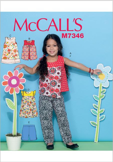 แพทเทิร์นตัดชุดเดรส เสื้อ กางเกง เด็กหญิง Mccalls 7346 Size: 2-3-4-5 ขวบ