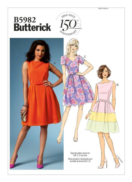 แพทเทิร์นตัดเดรสสตรี Butterick 5982F5 Size: 16-18-20-22-24