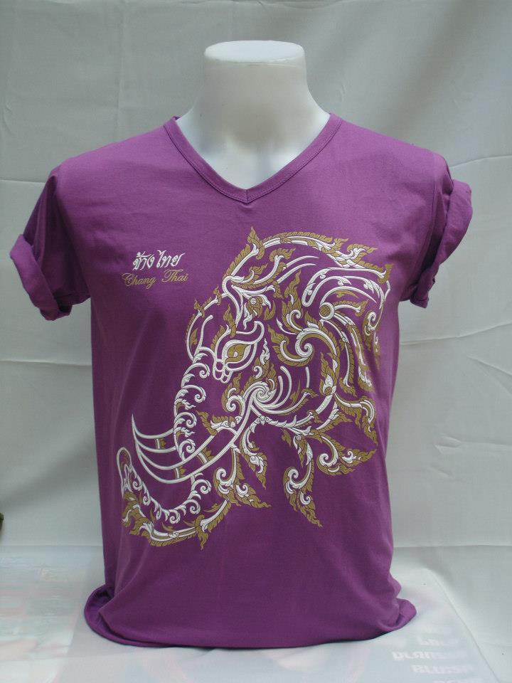 เสื้อยืดคอวี ลายช้างไทย