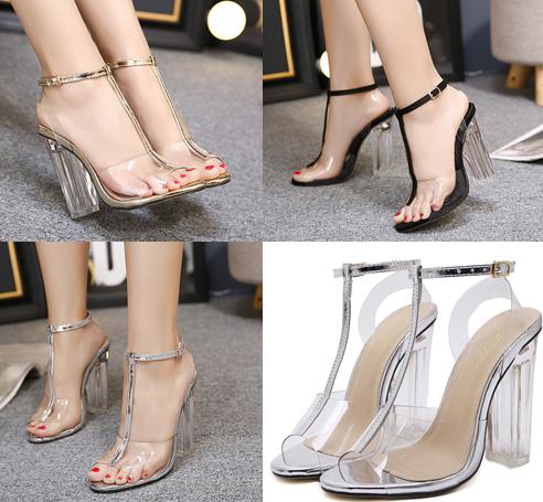 รองเท้าส้นสูง ไซต์ 35-40 สีดำ/เงิน/ทอง