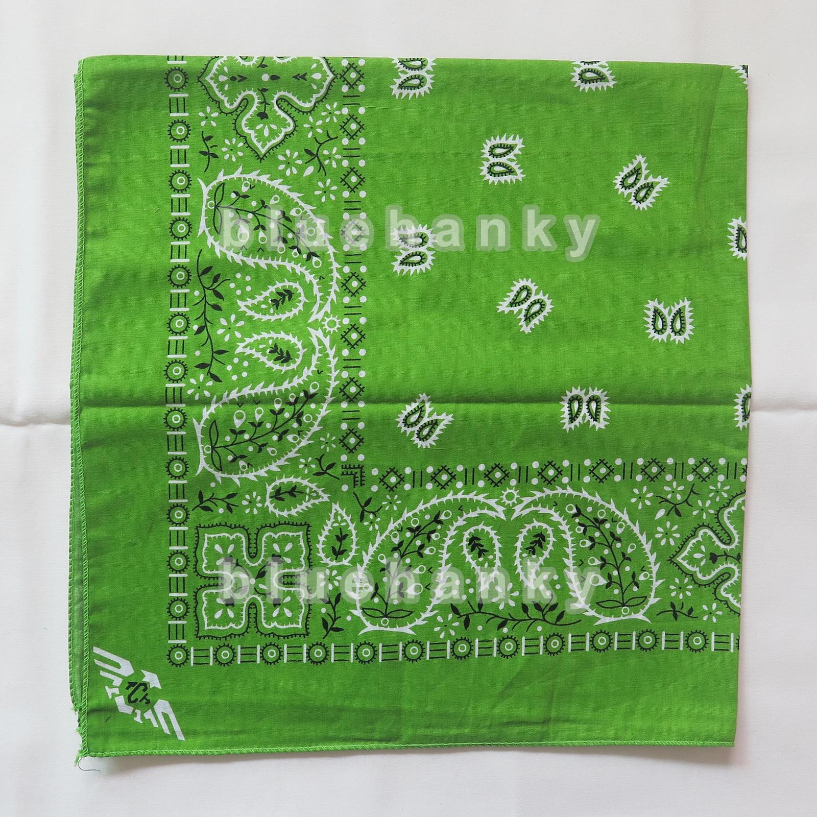 ผ้าพันคอBandannasไซส์บิ๊ก 28นิ้ว สีเขียว