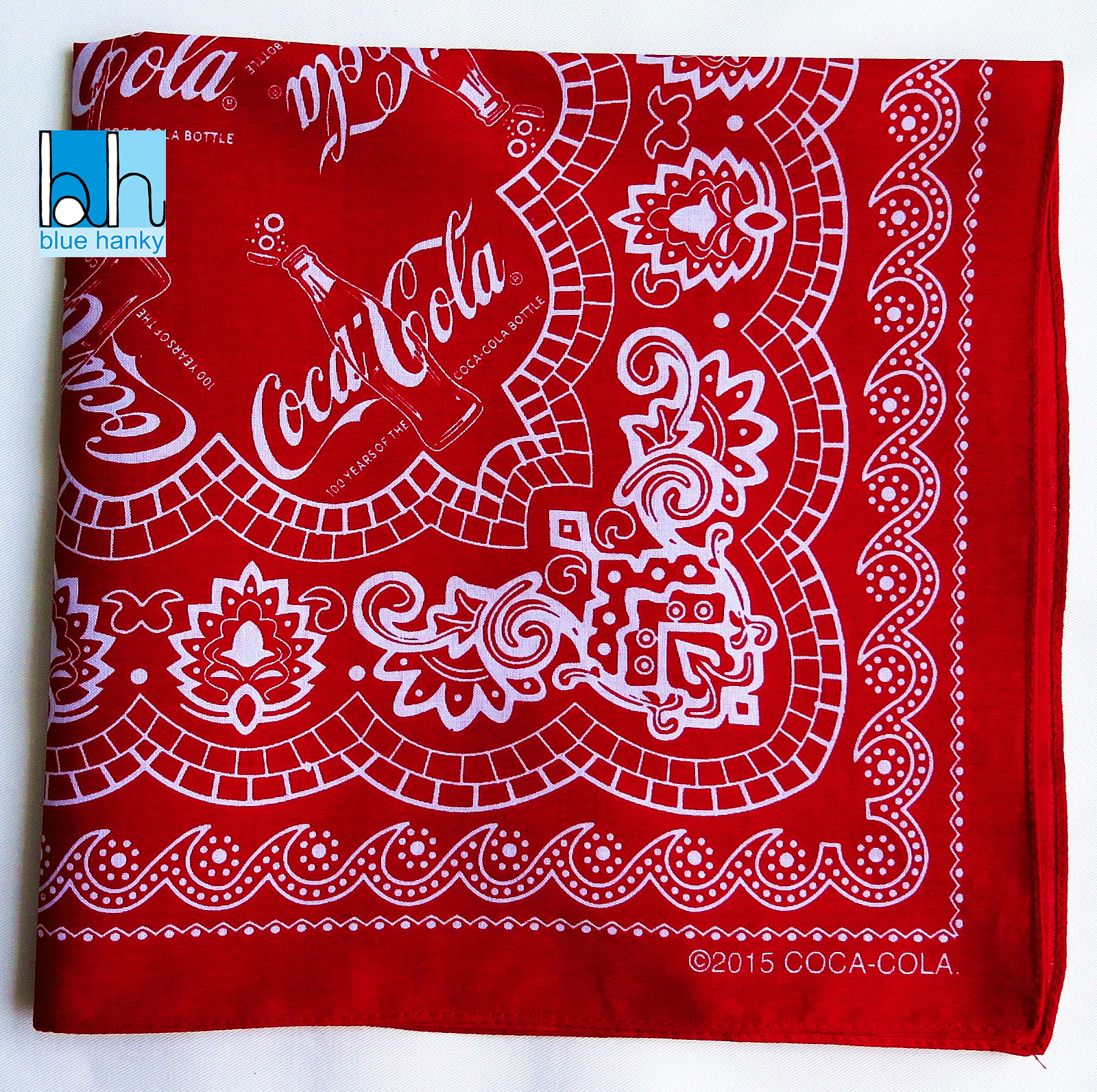 """#300 22"""" Coca Cola ผ้าเช็ดหน้ามือ2 สภาพดี ผ้าเช็ดหน้าผืนใหญ่"""