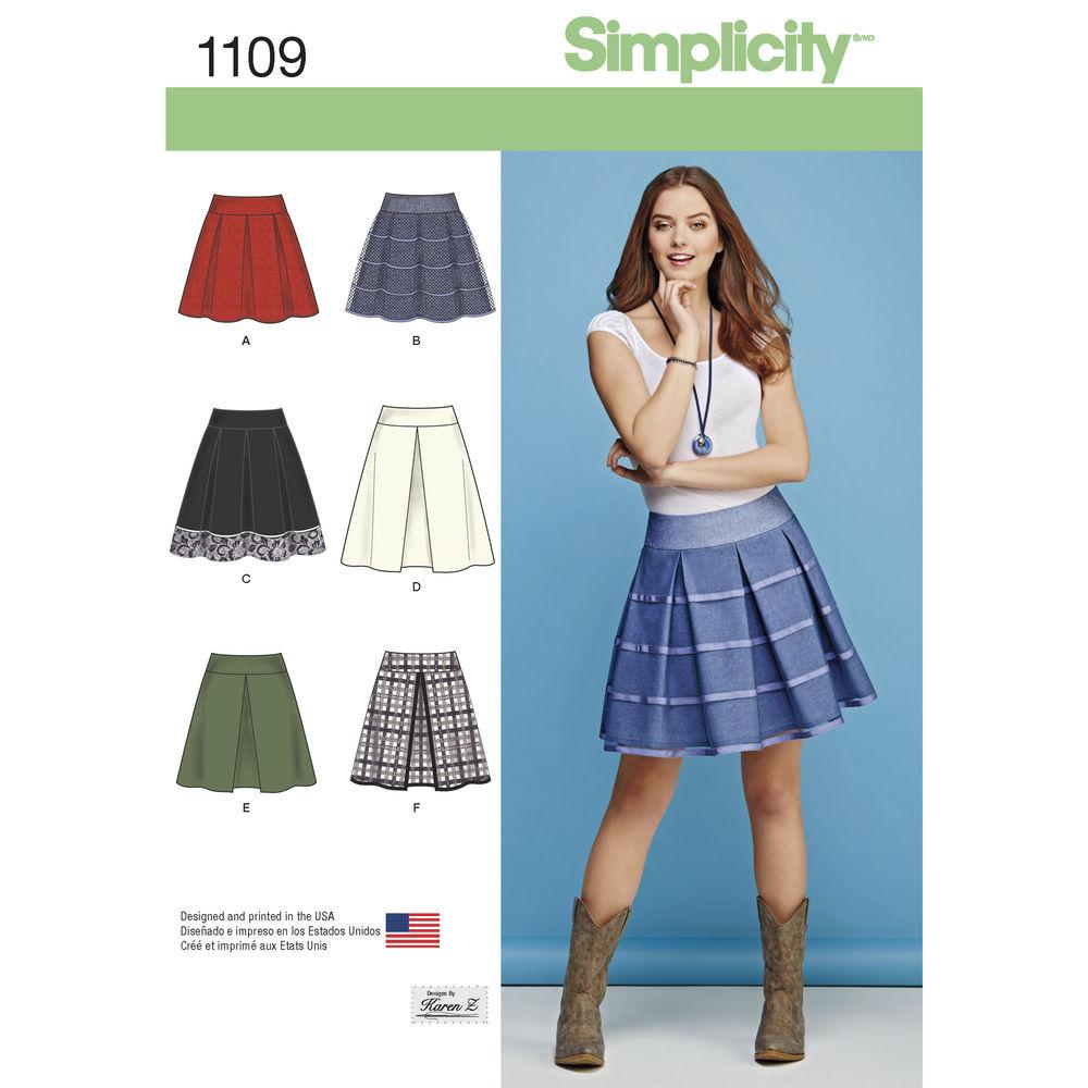แพทเทิร์นตัดกระโปรงทวิส Simplicity 1109 Size: 6-14, 14-22