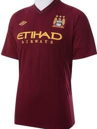 เสื้อทีมเยือน Man City 2012 - 2013 สีเลือดหมู